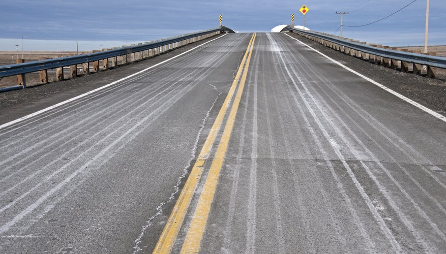 Calcium chloride is used in a mixture to de-ice roads.