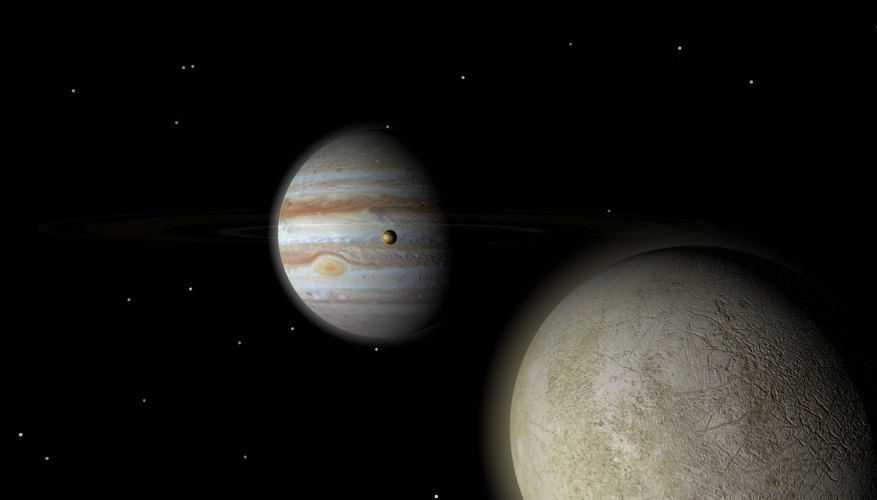 Europa in foreground, Jupiter in background and Io between the two