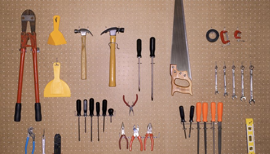 Tools hang neatly in a garage