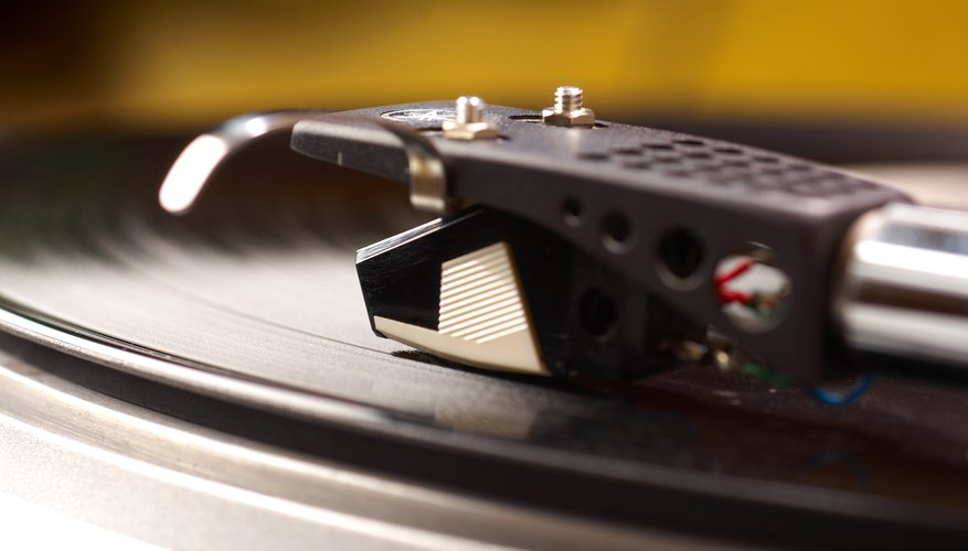 A close up of a record player.