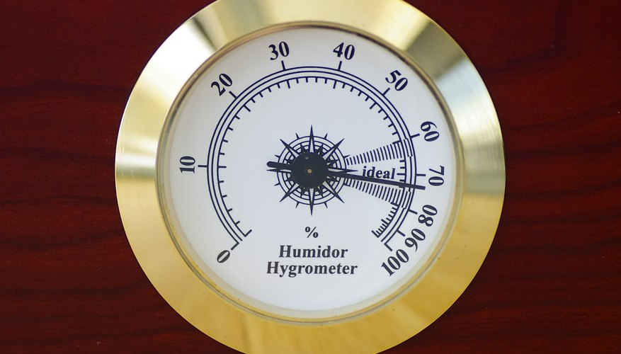 Close-up of gold plated hygrometer