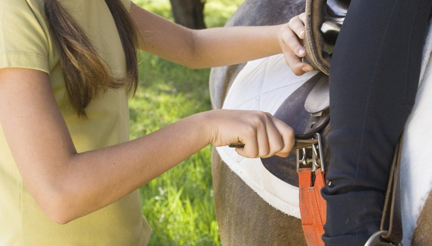 This smaller saddle is a good fit for both girl and pony.