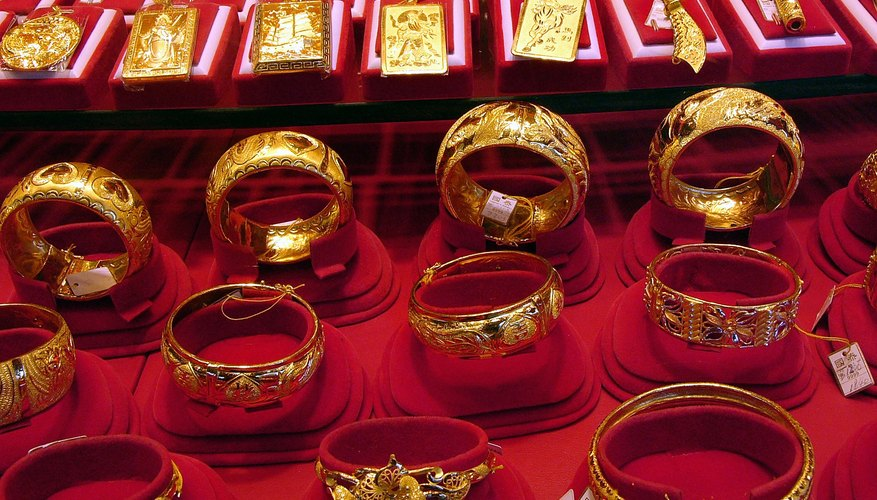 Gold jewelry in New York City store display