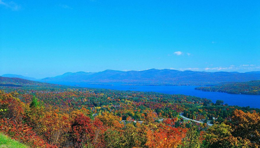 A view of Lake George and the Adirondack Mountains in New York State.