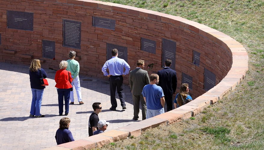 People gathered atthe Columbine memorial.