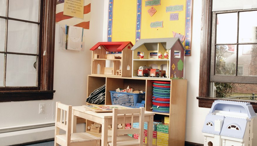 Preschool classrooms include learning centers for different areas of development.