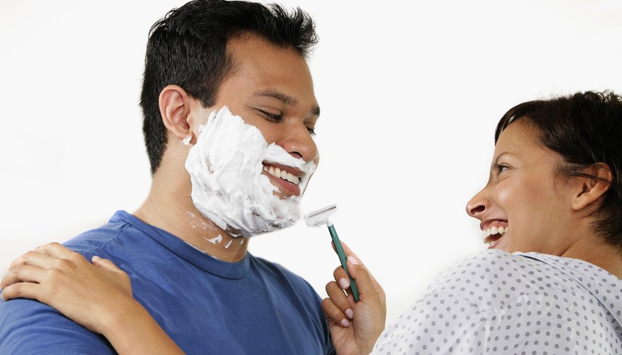 Couple playing the shaving game