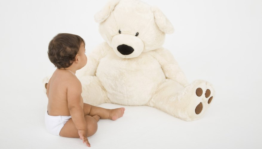 A large, soft teddy is perfect for crawling and exploring.