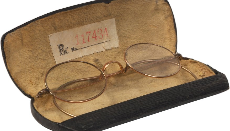 Antique eyeglasses should always be kept in a protective case.