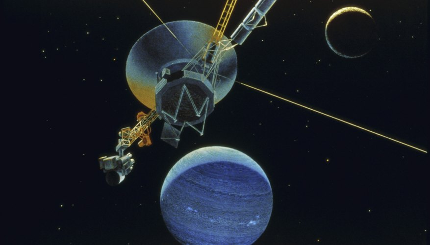 Rendering of Voyager 2 with planet Neptune and moon Triton