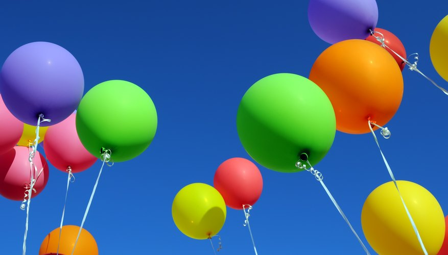 Balloons filled with helium gas.