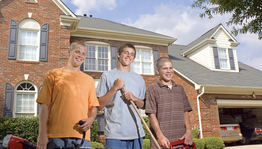 Teens doing yardwork can provide valuable help to the family.