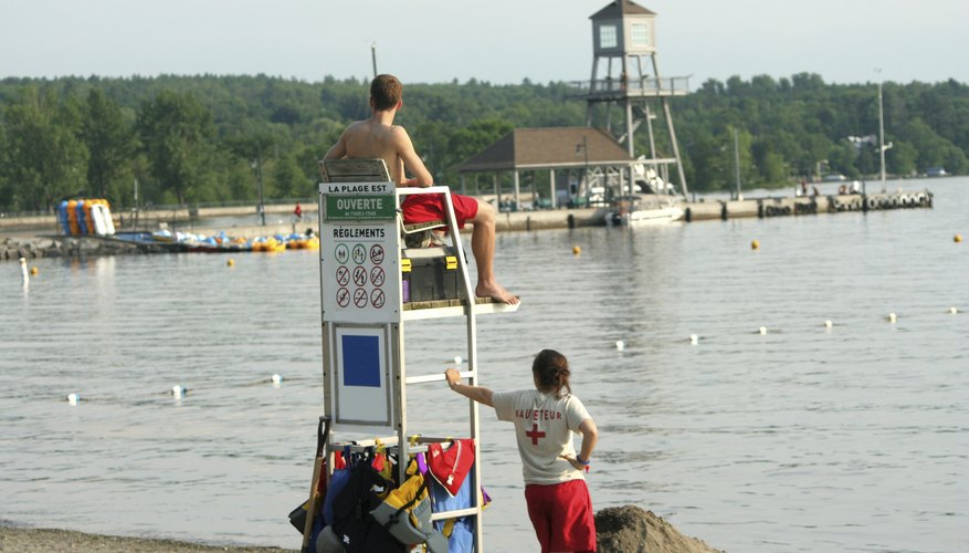 Teen lifeguards observe the lakefront