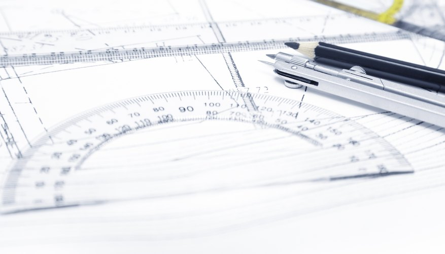Close-up of protractor on paper