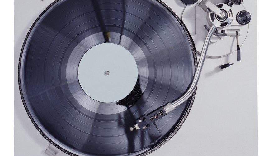 A record playing on a modern turntable