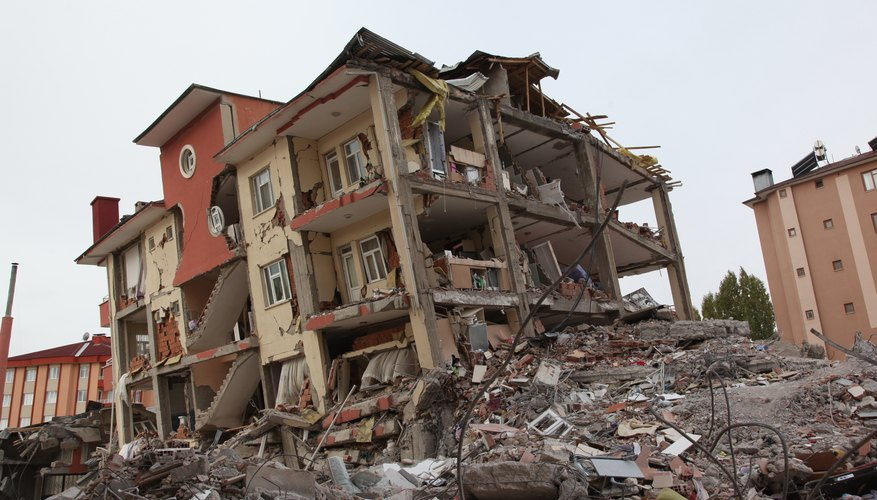 An apartment building after an earthquake.
