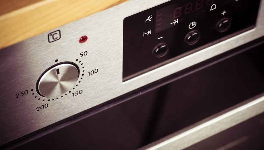 Preheating an oven.