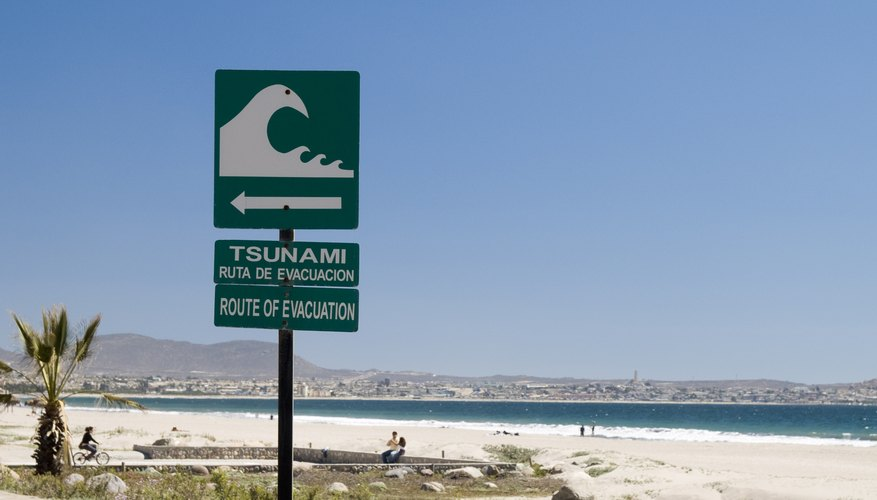 A Tsunami evactuation sign.