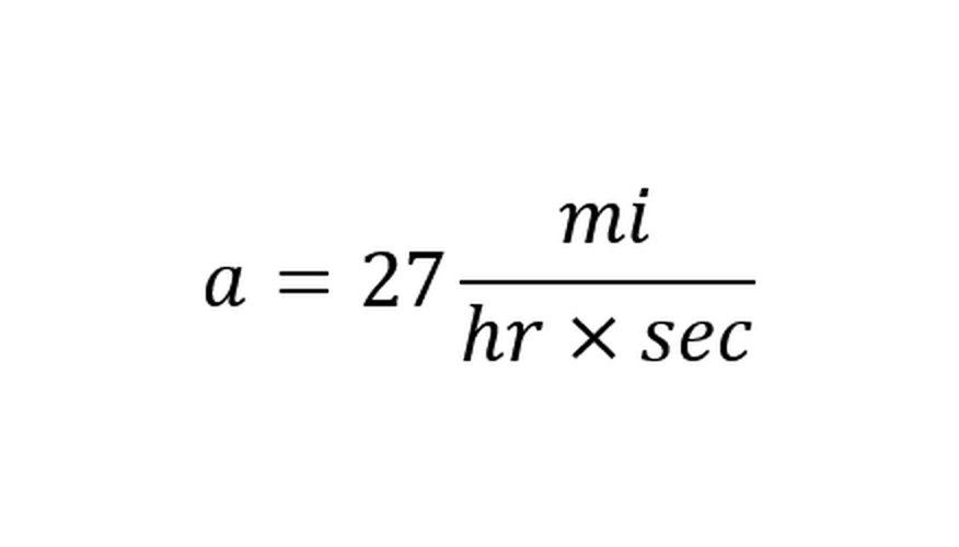 Dividing the change in velocity by the time calculates acceleration.