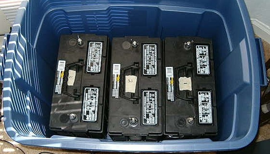 Battery Bank with three deep cycle batteries in a rubber maid tote
