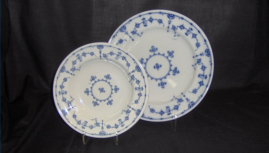 Blue and white china plates made by Minton