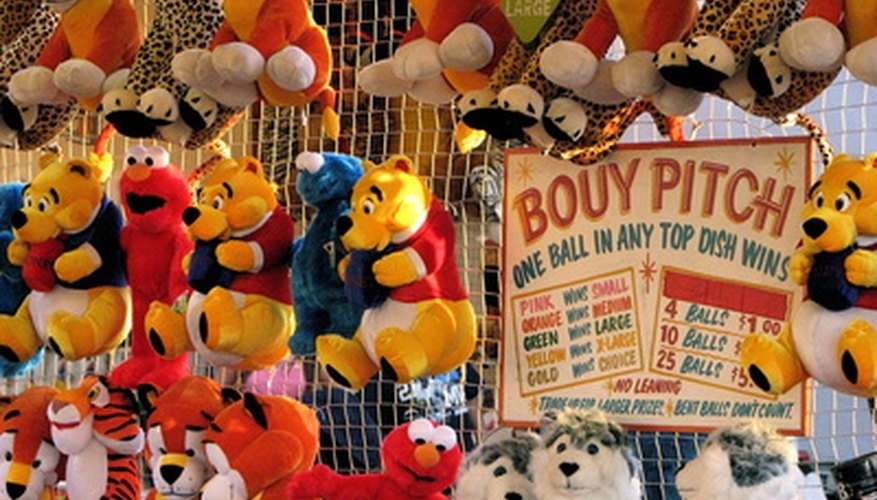 Carnival prizes that can be won playing the high striker game.