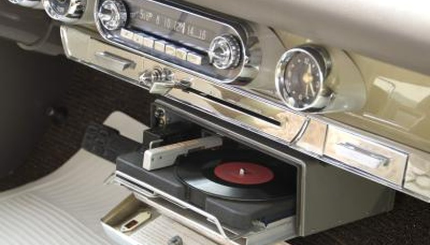 Classic car with built-in 45 rpm record player