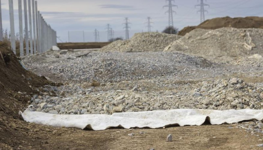 Geotextile fabric at a construction site.
