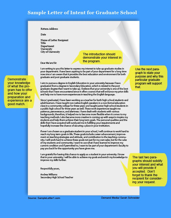 How To Write A Letter Of Intent For Grad School | Cover Letter Example