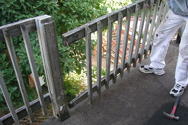 Most railings can be removed in sections.