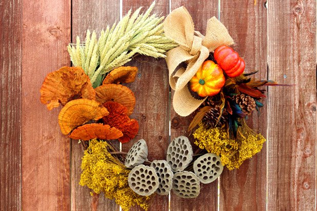A colorful fall elements wreath