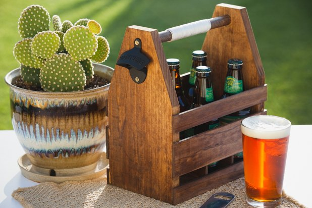 Completed wooden beer caddy.