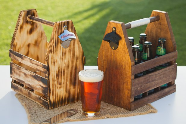 Wooden beer caddy in two finishes.