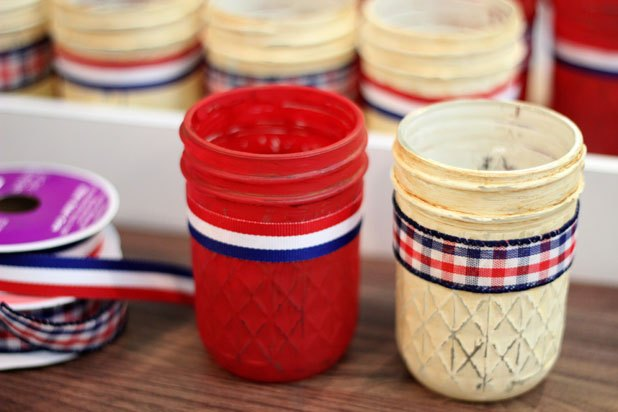 Wrap ribbon around jars