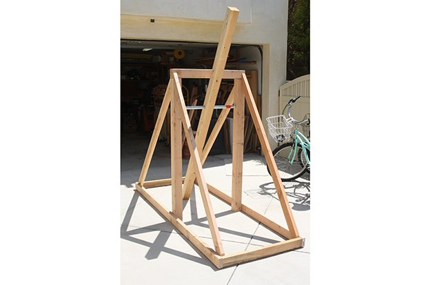 Assembled structure with 2x4 side supports.