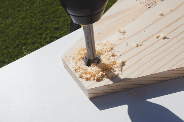 "Drilling a ¾"" hole for the handle."