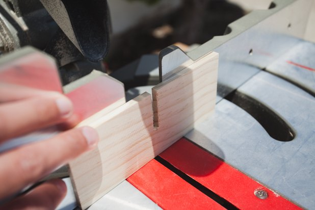Notching wood on miter saw.