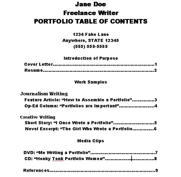 How to make a portfolio table of contents ehow for Professional portfolio nursing template