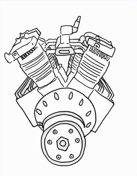 Car Engines Drawings Designs moreover How 4856415 draw Car Engine additionally Motor clipart black and white together with Skull And Smoke Tattoo Sketch Templates besides Dan Gurney Patents Moment Cancelling Four Stroke Motorcycle Engine. on harley davidson three motorcycle