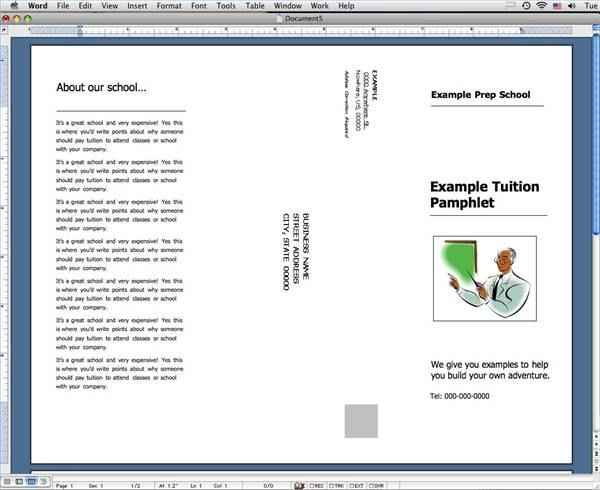 how to create a pamphlet in pages