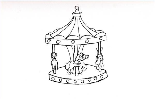 How To Draw A Merry Go Round With Pictures