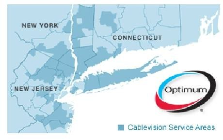 A map of Optimum Online's coverage in the Metro New York Area.