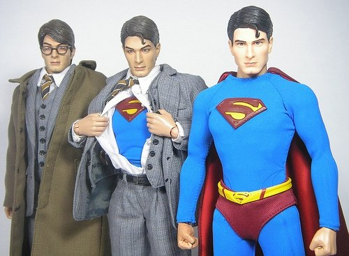 Clark Kent turning into Superman