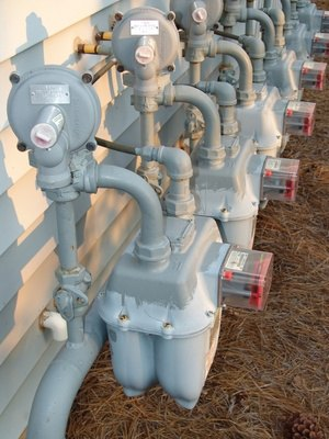 Natural gas regulators and meters control the flow of gas to your house.