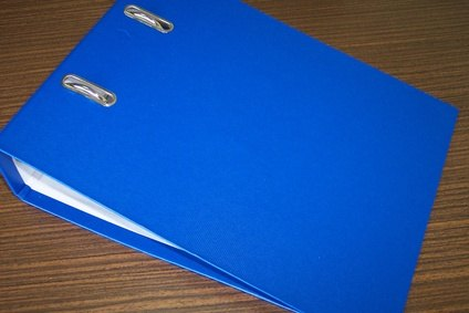 An example of an inexpensive binder for a portfolio. Try to avoid bright colors.