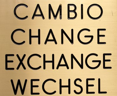 A typical foreign exchange sign