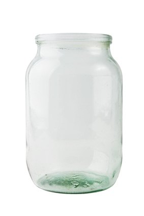 A clear glass jar works well for making rubber eggs.