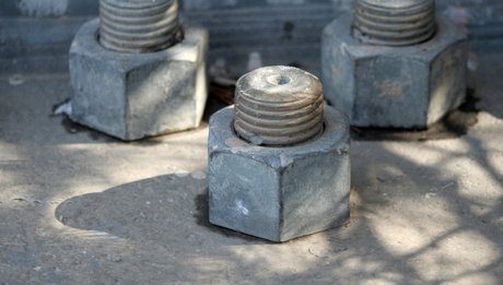Large bolts and nuts used in construction
