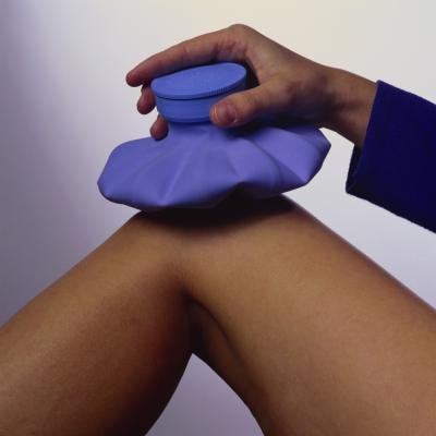 Ice pack on female's knee.