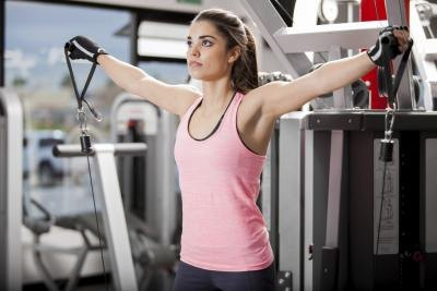 Woman doing upper arm routine